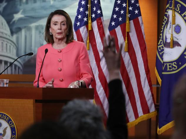 House Speaker Nancy Pelosi, D-Calif., speaks during her weekly news conference on Capitol Hill in Washington, D.C., on Thursday. Among the topics discussed were Attorney General William Barr's failure to appear before the House Judiciary Committee to dis