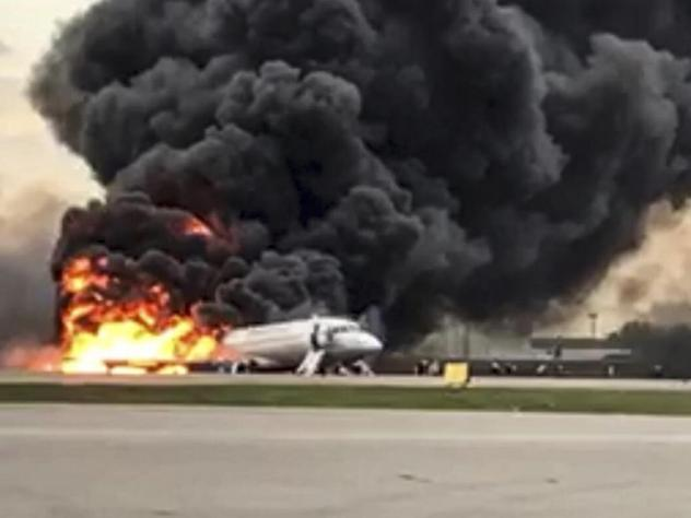 A video still shows a Sukhoi Superjet 100 aircraft on fire after a hard landing Sunday at Moscow's Sheremetyevo airport. At least 41 people died in the Aeroflot crash.