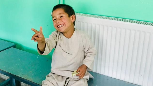 Sayeed Rehman, a 5-year-old Afghan boy, was delighted to get a new prosthetic leg that fits his growing body. His leg was amputated after he was caught in crossfire as a baby.