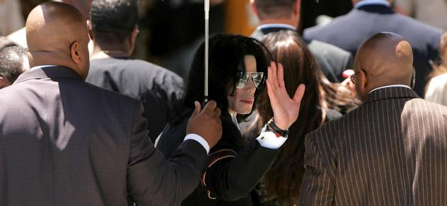 Michael Jackson in 2005, on his way into the Santa Barbara County Courthouse to hear the verdict in a 10-count case of child molestation brought against him. Earlier in 2019, allegations of child sexual assault were once again raised against Jackson, who
