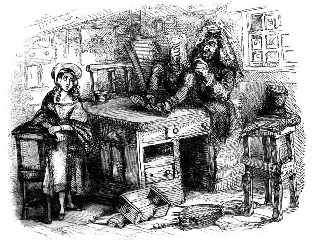 "Quilp, the epitome of evil in Charles Dickens' <em>The Old Curiosity Shop</em>, seen here with Little Nell, is a dwarf with the head of a giant and a ""few discolored fangs"" for teeth. But his most grotesque trait is his trick of drinking ""boiling tea wit"