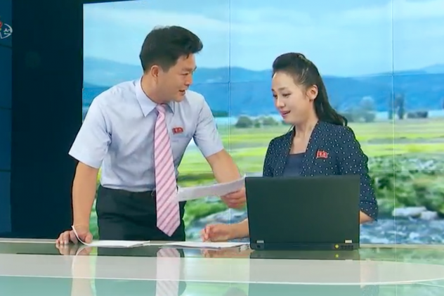 In this episode last September of <em>News From Soldiers' Hometowns,</em> an evening show on North Korea's Korean Central Television<em>,</em> the show's anchor is interrupted by a presenter who walks on with papers in hand to deliver an update.