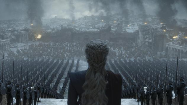 Having well and truly landed, Queen Daenerys (Emilia Clarke) surveys the ruins of King's Landing on the final episode of <em>Game of Thrones</em>.