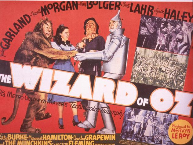"A promotional poster for the 1939 film <em>The Wizard of Oz</em>."" Harold Arlen's song ""Over the Rainbow"" for this film won an Oscar for Best Original Song."