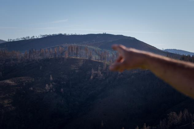 Dan Efseaff of the Paradise Recreation and Park District points to where the fire came over the ridge and into Paradise. Cal Fire determined that the fire started near the rural community of Pulga, east of Paradise.