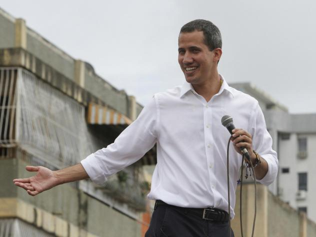Venezuela's opposition leader and self-proclaimed interim president, Juan Guaidó, addresses a rally in Barquisimeto, Venezuela, on Sunday.
