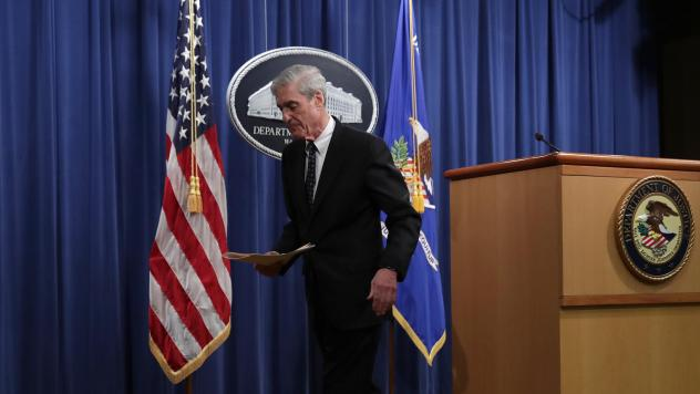 """Special counsel Robert Mueller leaves after making a statement about the Russia investigation on Wednesday at the Justice Department. After the investigation, he said, """"if we had had confidence that the president clearly did not commit a crime we would h"""