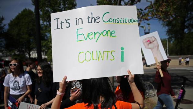 Protesters gather outside the U.S. Supreme Court in April as the justices hear oral arguments over the citizenship question the Trump administration wants to add to the 2020 census.