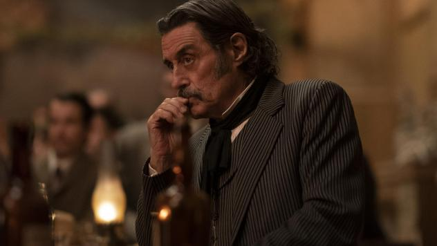 Foul-mouthed brothel owner Al Swearengen (Ian McShane) is back in HBO's <em>Deadwood: The Movie.</em>