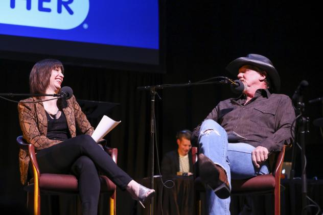 Host Ophira Eisenberg chats with Trace Adkins on <em>Ask Me Another</em> at TPAC's Polk Theater in Nashville, Tennessee.