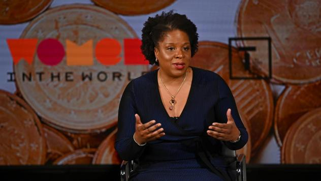 Tayari Jones speaks onstage at the Women In The World Summit earlier this year in in New York City. On Wednesday, Jones' novel <em>An American Marriage</em> won the prestigious Women's Prize for Fiction.