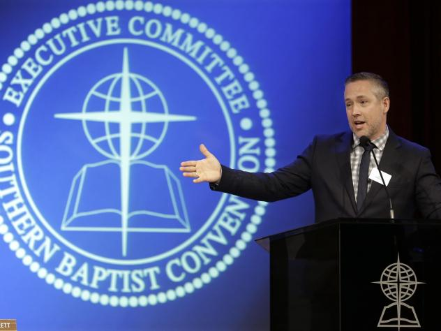 Southern Baptist Convention President J.D. Greear speaks to the denomination's executive committee in February. Church leaders meet this week to discuss clergy sexual abuse cases.