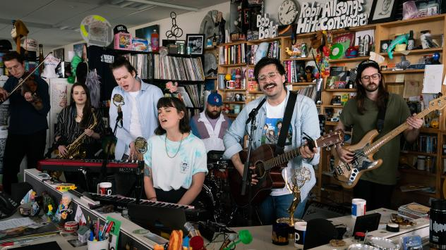 Foxing plays at the Tiny Desk on May 1, 2019 (Claire Harbage/NPR).