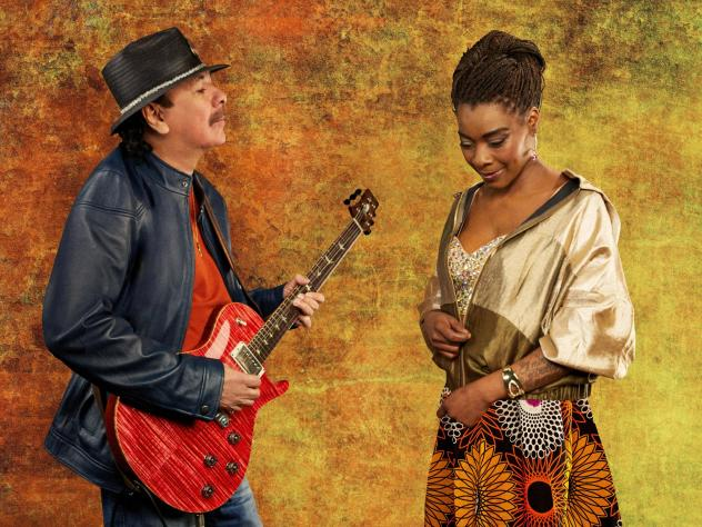 Carlos Santana's new album, <em>Africa Speaks, </em>features Spanish vocalist Buika (right).
