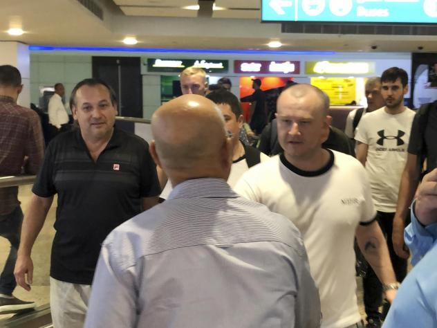 Mariners from the MT Front Altair arrive at Dubai International Airport in Dubai, United Arab Emirates, on Saturday.