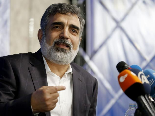 "Atomic Energy Organization of Iran spokesman Behrouz Kamalvandi, pictured at a July 2018 news conference in Tehran, said Monday: ""We have quadrupled the rate of enrichment and even increased it more recently."""