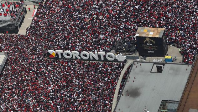 Fans gather at Nathan Phillips Square as they turn out for the Toronto Raptors NBA Championship Victory Parade on Monday in Toronto, Canada.