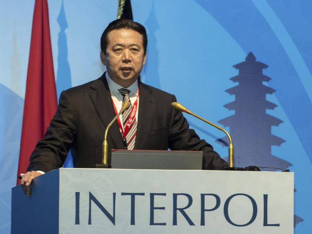 Former Interpol President Meng Hongwei, pictured at an Interpol conference in 2016, pleaded guilty to bribery charges on Thursday, according to Chinese state-run media.