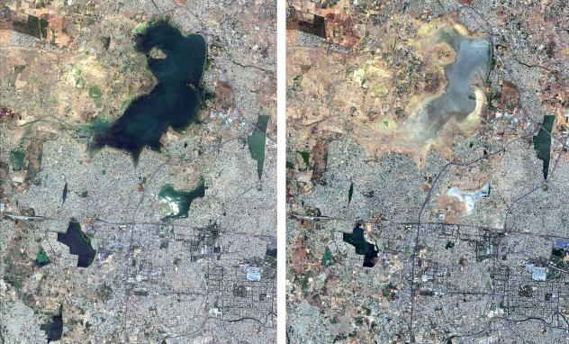 These satellite images from June 15, 2018, (left) and June 15, 2019, show the diminishing size of the Puzhal Lake reservoir in Chennai, India.