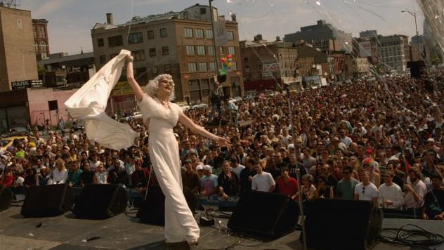 Drag Queen Cloud performs at Wigstock in New York in 1994.
