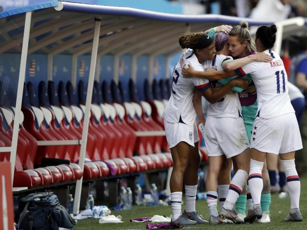 United States players celebrate after their match against Spain earlier this week.