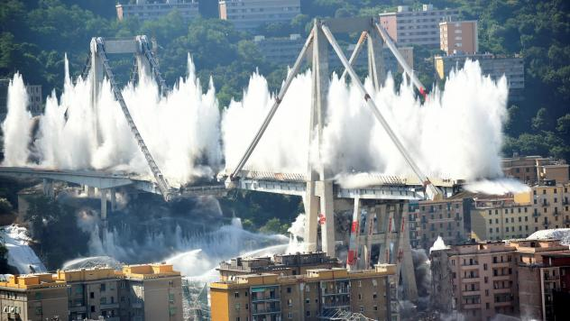 Controlled explosions demolish the remaining pylons of the Morandi bridge, almost one year after a section of the viaduct collapsed, killing 43 people in Genoa, Italy.