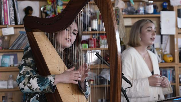 Gemma Doherty (left) and Morgan MacIntyre performing as Saint Sister during their Tiny Desk Concert at NPR in Washington, D.C.