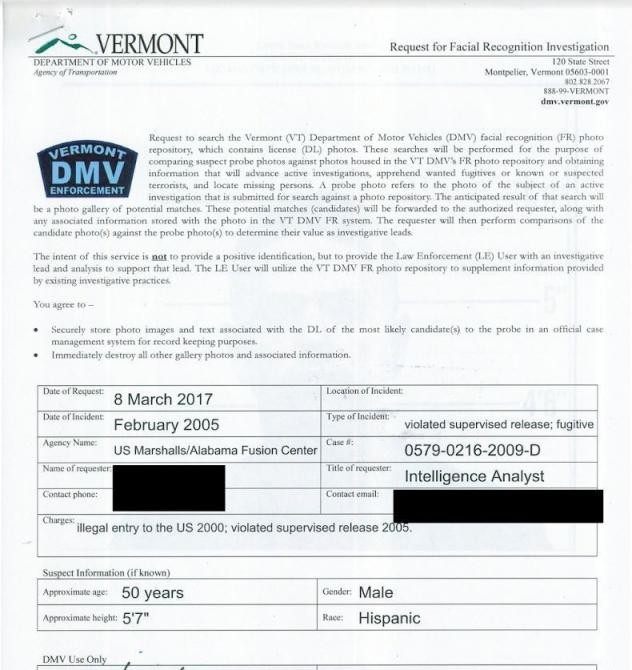 In many cases, federal agents can request access to state DMV records by filling out a form. This is an example of a Homeland Security request that was made to the Vermont Department of Motor Vehicles in 2017.