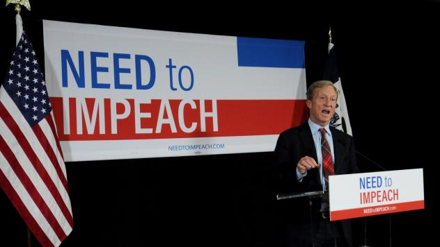 Billionaire activist Tom Steyer speaks to supporters in January in Des Moines, Iowa, where he announced he would not run for president. He's now reversed course.