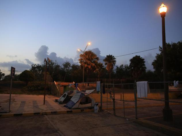 Tents belonging to migrants at the entrance to the Puerta Mexico international bridge in Matamoros, Tamaulipas state, Mexico, last week.