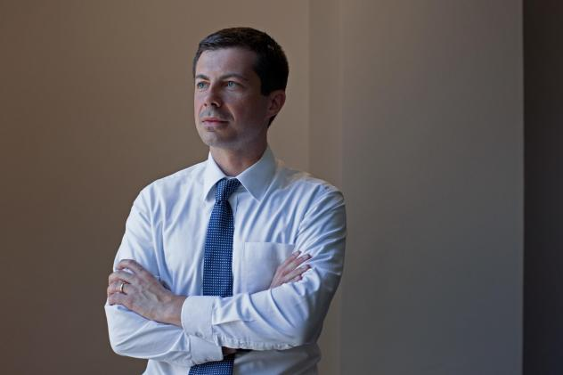 Democratic presidential candidate Pete Buttigieg stands for a portrait in Washington D.C.