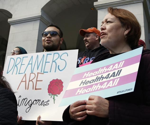 Demonstrators rallied in Sacramento in May for Medi-Cal expansion to undocumented Californians. When the state's budget was finalized, only young adults up to age 26 were authorized to be included in the expansion. Gov. Gavin Newsom says that's an import