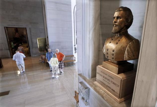A bust of Nathan Bedford Forrest is displayed in the Tennessee State Capitol, in Nashville, Tenn.