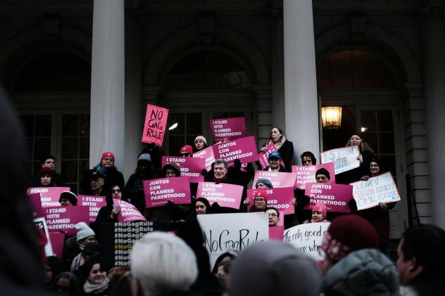 Supporters of Planned Parenthood demonstrated at New York's City Hall against the Trump administration's Title X rule change in February. Planned Parenthood now says it clinics nationwide will stop using federal Title X family planning funds.