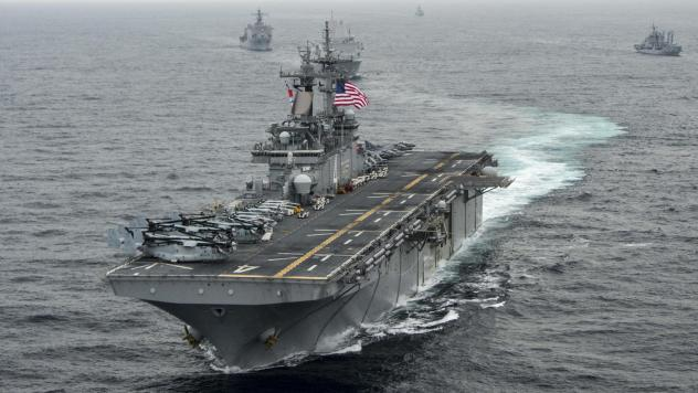 The amphibious assault ship USS Boxer (LHD 4), seen here in a 2016 U.S. Navy photo, shot down an Iranian drone over the Strait of Hormuz on Thursday, President Trump said.