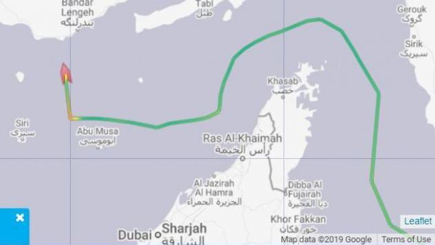 Ship-tracking data show the Mesdar oil tanker made an abrupt turn toward Iran on its planned route to Saudi Arabia on Friday.