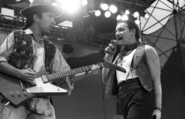 """The Edge and Bono perform in the Netherlands during U2's The Joshua Tree tour in 1987. The U2 song """"I Still Haven't Found What I'm Looking For,"""" inspired by gospel, has become a rock 'n' roll hymn, even finding its way into real-life church services."""