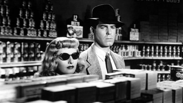Barbara Stanwyck and Fred MacMurray in a scene from <em>Double Indemnity.</em>