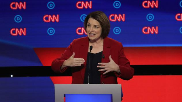 Minnesota Sen. Amy Klobuchar is the eighth presidential candidate who appears to have made it to the stage. The next debate has a tougher threshold than the past two.