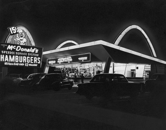 A view of a McDonald's fast-food restaurant in Des Plaines, Ill., circa 1955. A new book explores the complicated bond between Americans and fast food.