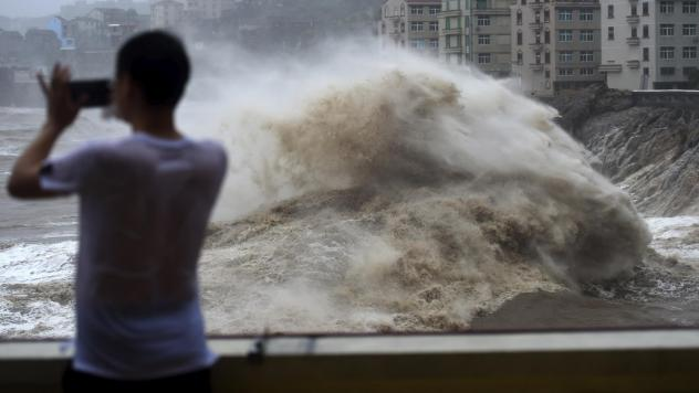 Typhoon Lekima approaches the Shitang Township of Wenling City in eastern China's Zhejiang province. Typhoon Lekima struck the coast south of Shanghai, knocking down houses and trees.