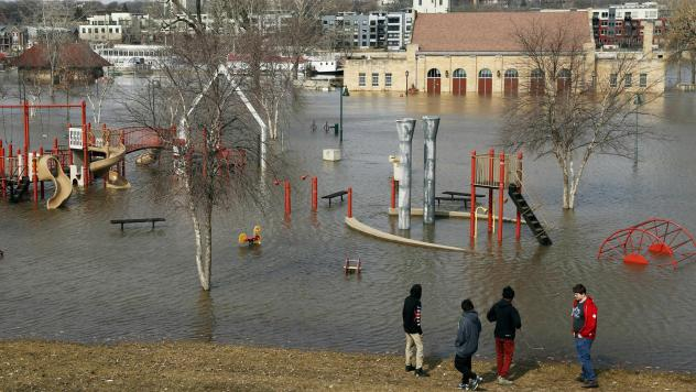 Mississippi River floodwaters inundate the pavilion and a play area at Harriet Island in St. Paul, Minn., this past March.