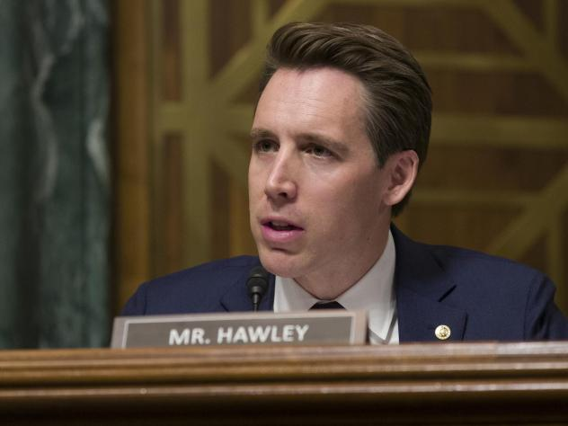 """Sen. Josh Hawley, R-Mo., speaks during a hearing of the Senate Judiciary Committee in March. He blames big tech for using """"exploitative and addictive practices in order to get us to spend more time on their platform."""""""