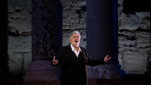 """Plácido Domingo, 78, performs onstage during the dress rehearsal of """"Spanish Night"""" at the 150th Choregie in Orange, France, in July."""