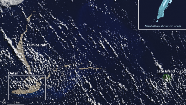 NASA's Terra satellite captured the mass of floating pumice rock on August 13.