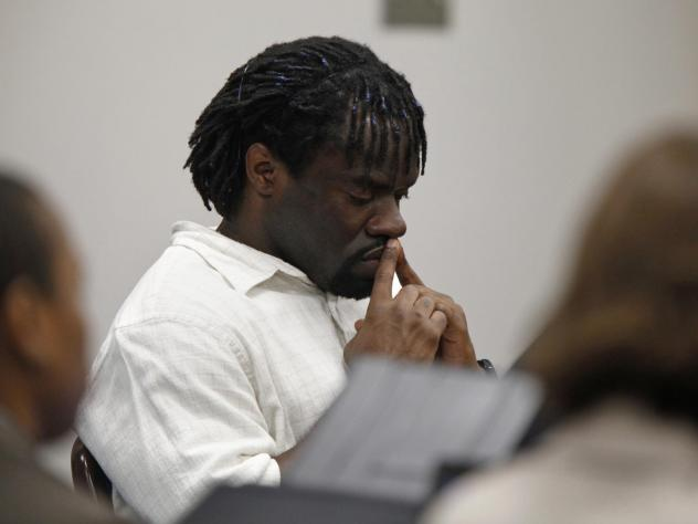 Death row inmate Marcus Robinson listens in 2012 as a judge concludes that racial bias played a role when he was sentenced to death. Robinson was resentenced to life, but he was sent back to death row years later after the state's Racial Justice Act was