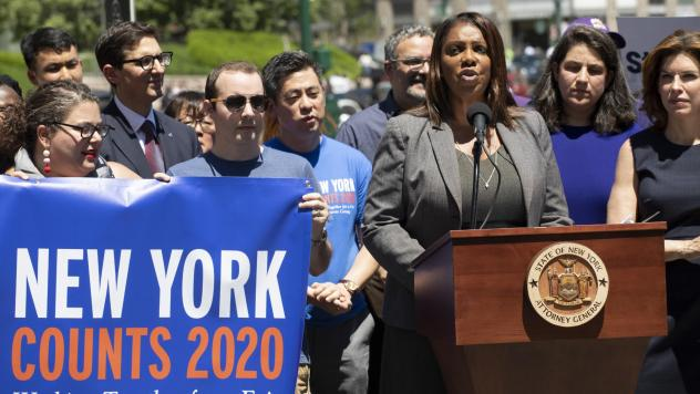 New York State Attorney General Letitia James speaks at a June news conference in New York City. James' office is now leading a coalition of states and other groups in defending the Census Bureau's long-standing policy of including unauthorized immigrant