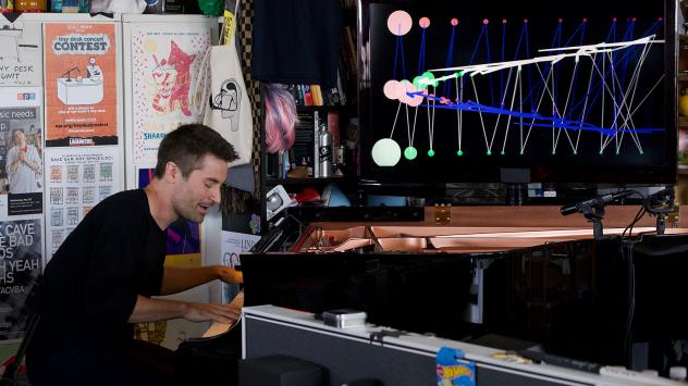 Dan Tepfer plays a Tiny Desk concert on July 30, 2019 (Olivia Falcigno/NPR).