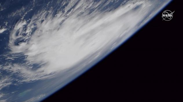This Friday, Aug. 30, 2019, image provided by NASA shows a view of Hurricane Dorian from the International Space Station as it churned over the Atlantic Ocean.