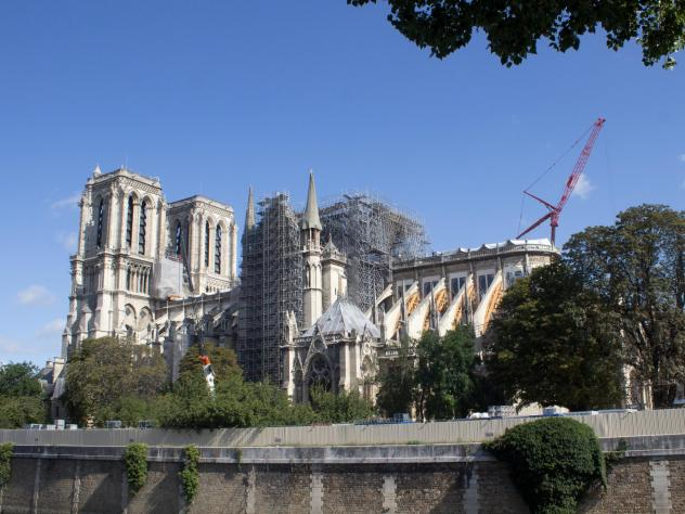 Work on Paris' Notre Dame Cathedral continues following a devastating fire in April.